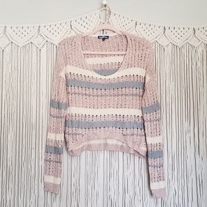 Freshman cropped pink striped crocheted top